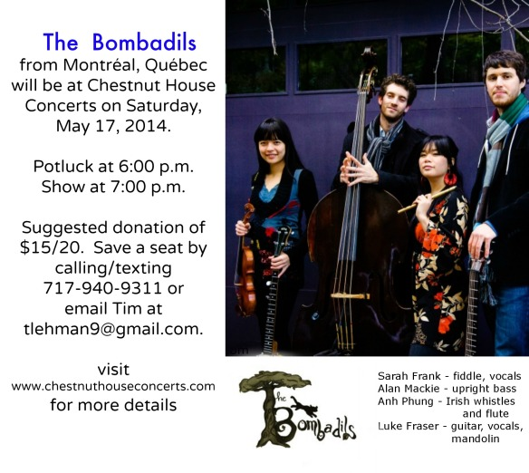 Upcoming House Concert:  May 17, 2014